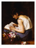 A Girl Reading Giclee Print by Alexei Alexeivich Harlamoff