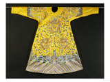 Rare Imperial Embroidered Yellow Silk Twelve Symbol Dragon Robe, Ji Fu, Qianlong Period (1735-1796) Prints