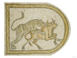Byzantine Marble Mosaic Panel Depicting a Leopard Attacking a Bull, circa 5th-6th Century AD Poster