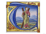 "St. Andrew, Historical Initial ""T"" Cut, N. France, Probably Paris, Early 16th Century Giclee Print"