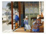 An Elderly Gentleman Listening to a Flautist in an Interior, Chinese School, Mid 19th Century Giclee Print