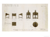 Designs for Writing Desks Shown in Front and Side Elevation, 1909, for the Ingram Street Tea Rooms Art by Charles Rennie Mackintosh