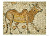 A Byzantine Marble Mosaic Panel Depicting Humped Bull, circa 5th-6th Century AD Print