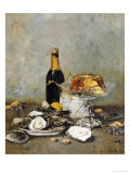 Oysters, Cake and a Bottle of Champagne, 1891 Giclée-tryk af Victor Morenhout
