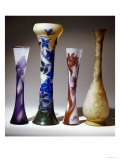 A Selection of Galle Bouble Overlay and Fire-Polished Vases Giclee Print by Émile Gallé