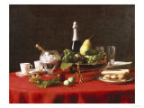 A Bowl of Fruit and a Bottle of Champagne, 19th Century Giclee Print by Jules Larcher