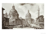 A View of Rome with the Two Churches of Santa Maria Di Loreto and the Church of Our Lady Posters by Giovanni Battista Piranesi