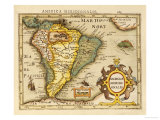 Hand Colored Engraved Map of South America, 1610 Posters by Gerardus Mercator