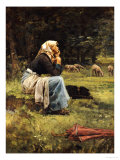 A Young Shepherdess Giclee Print by Pierre Billet