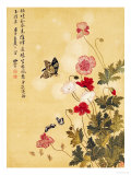 Corn Poppy and Butterflies, 1702 Reproduction procédé giclée par Ma Yuanyu