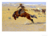 A Cold Morning on the Range Premium Giclee Print by Frederic Sackrider Remington