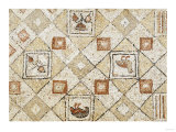 Late Roman, Large Geometric Mosaic Panel with Birds and Flowers, circa 4th Century AD Prints