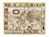 Hand Colored Engraved World Map, 1649 Giclee Print