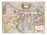 Engraved, Hand Colored Map of Holland, 1595 Poster by Gerardus Mercator