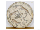 Byzantine Mosaic Roundel Depicting Foxes and a Basket of Eggs, circa 4th-5th Century AD Posters