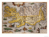 Hand Colored Map of Iceland, 1595 Prints by Abraham Ortelius