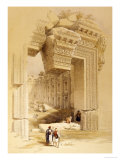 The Doorway of the Temple of Bacchus, Baalbec, 7th May 1839 Print by David Roberts