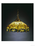 "A ""Hanging Head"" Dragonfly Glass and Gilt Bronze Chandelier Giclee Print by  Tiffany Studios"