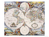 Wall-Map of the World on 4 Sheets, circa 1696 Giclee Print by Cornelis III Danckerts