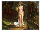 A Bather in a Wooded Landscape Giclee Print by Wilhelm Trubner