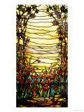 A Leaded Glass Landscape Window Depicting View of Red Flowers and a Stream Prints by  Tiffany Studios