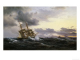 Sailing Vessels in a Stormy Sea, 1879 Giclee Print by Wilhelm Melbye