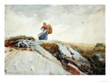 Down the Cliff, 1883 Giclee Print by Winslow Homer