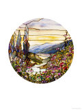 Fine Leaded Glass Window Enamelled Sunset with Mountains, circa 1900 Premium Giclee Print by  Tiffany Studios