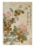 Plum Blossom And Camelias Lmina gicle por Yun Shouping
