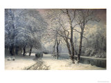 A Winter Landscape with Horses and Carts by a River, 1882 Prints by Anders Andersen-Lundby