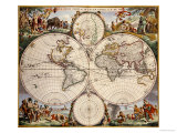 Map of the World, circa 1680 Art par Frederick de Wit