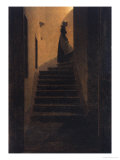 Caroline on the Stairs, 1825 Gicléedruk van Caspar David Friedrich