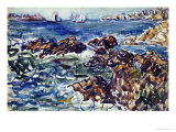 Rocky Cove with Village and Sketch of Rocks Posters by Maurice Brazil Prendergast
