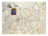 Watercolour Map on Vellum of Northern Europe, 1624 Giclee Print by Salomon De Caus