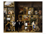 Archduke Leopold Wilhelm in His Picture Gallery, with the Artist and Other Figures Reproduction proc&#233;d&#233; gicl&#233;e par David Teniers the Younger