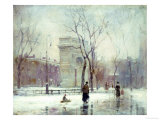 Winter in Washington Square Premium Giclee Print by Paul Cornoyer