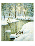 Winter Stream, Sunset Glow Giclee Print by Walter Launt Palmer