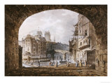 From Under the Arch of St. Michel's Bridge, Paris, Dated 1805-1810 Giclee Print by John Claude Nattes