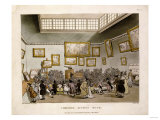 Colored Aquatint of Christies Auction Room, London, 1808 Prints