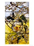 Parakeets and Gold Fish Bowl, 1893 Prints by Louis Comfort Tiffany