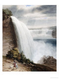 Niagara Falls, Part of the American Fall from the Foot of the Staircase, circa 1829 Giclee Print by William James Bennett