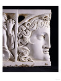 Detail of a Roman Marble Sarcophagus Lid Fragment, circa 3rd Century AD Poster