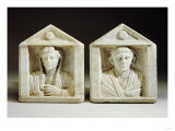 A Pair of Roman Marble Funerary Reliefs, circa Late 1st Century BC, 1st Century AD Prints