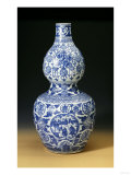 "A Large Ming Blue and White Double Gourd ""Shou"" Vase, Depicting Young Boys Playing on a Terrace Prints"