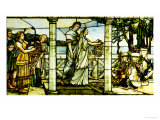 A Group of Maidens, with a Lake Scene in the Background Giclee Print by  Tiffany Studios
