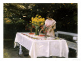 Preparing the Table Giclee Print by Michael Peter Ancher