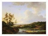 An Extensive Landscape with Figures and Cattle by a River, a Town Beyond, 1845 Giclée-Druck von Marinus Adrianus Koekkoek