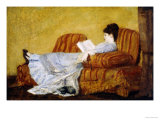 Young Lady Reading Impression giclée par Mary Cassatt