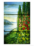 A Mountainous Lake Scene with Red Blossoming Hollyhocks and Arbor Art by  Tiffany Studios