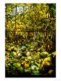 A Leaded Glass Window of a Woodland Scene Poster by  Tiffany Studios